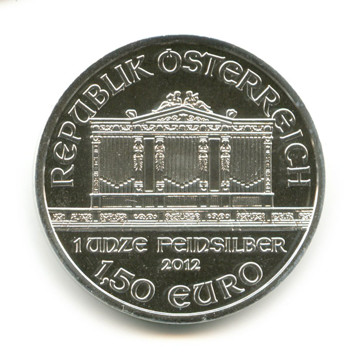 1,5 евро— инвестиционная монета Австрии «Филармония»