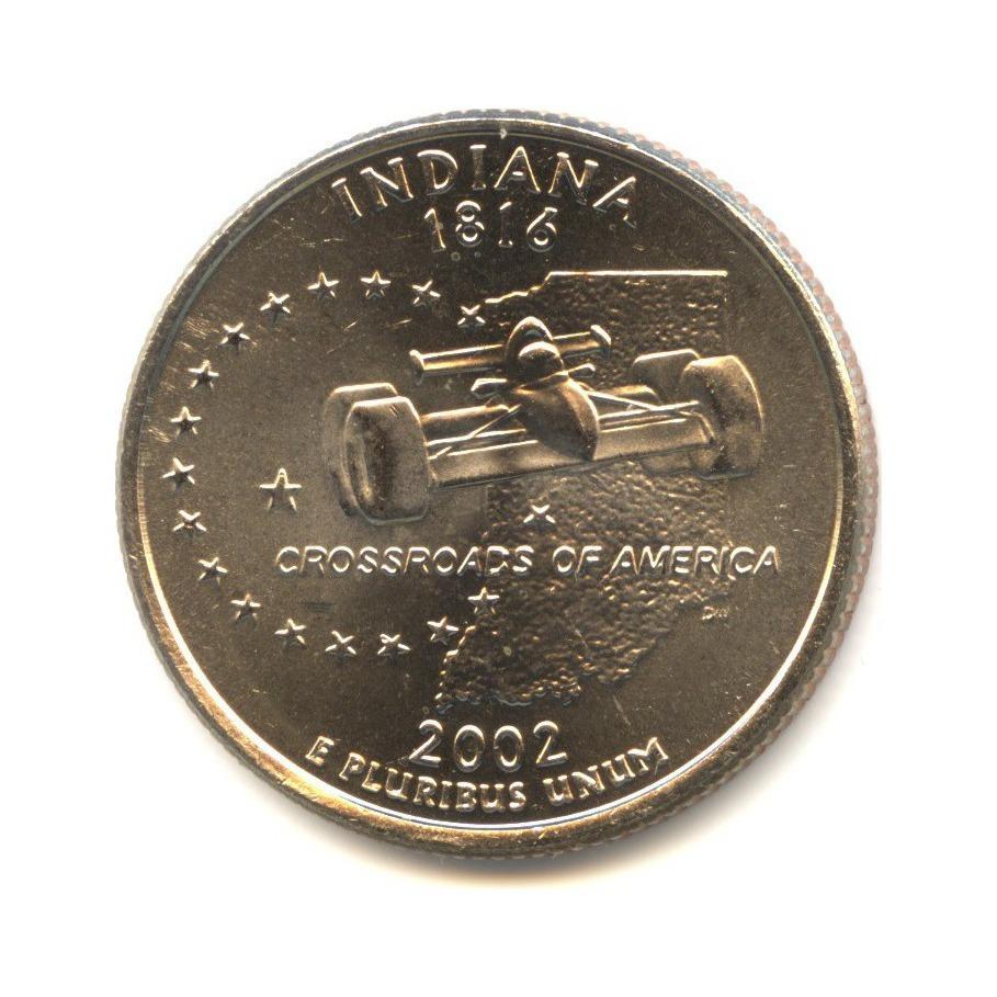 25 центов 2002— Квотер штата Индиана D