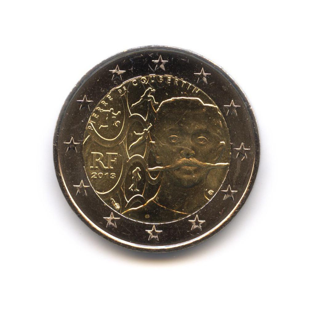 2 евро 2013 — 150 лет со дня рождения Пьера де Кубертена — Франция