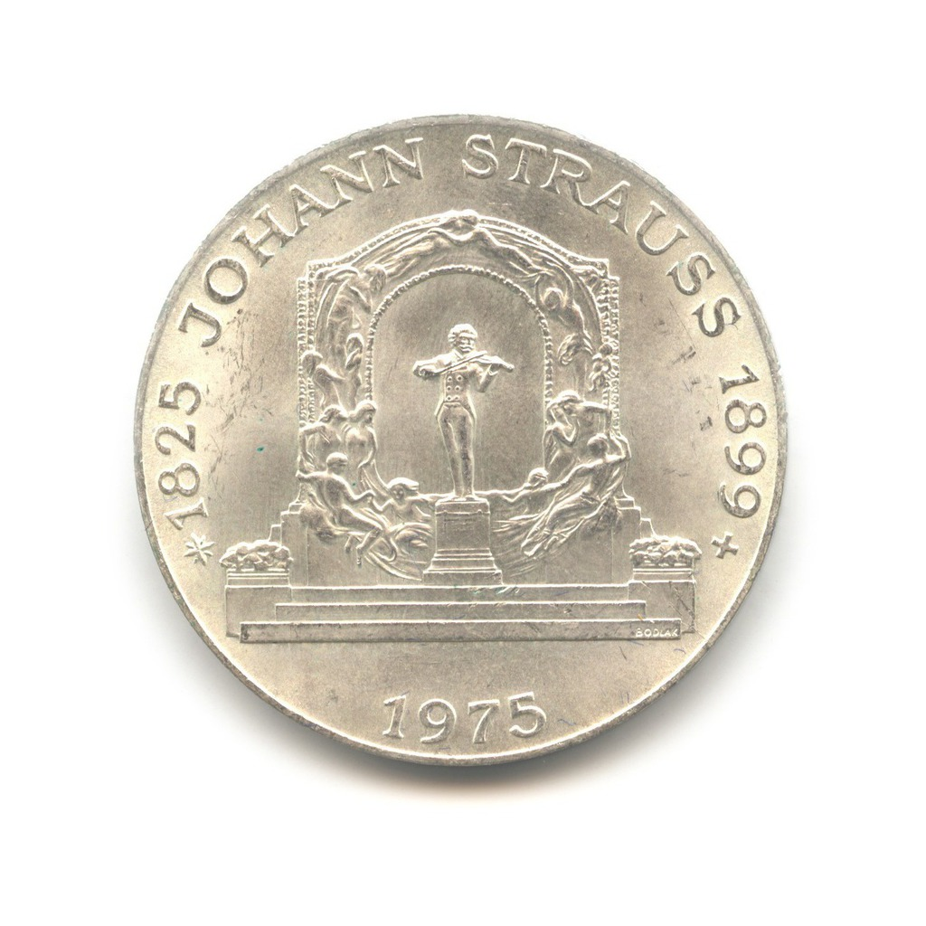 100 шиллингов 1975— 150 лет содня рождения Иоганна Штрауса — Австрия