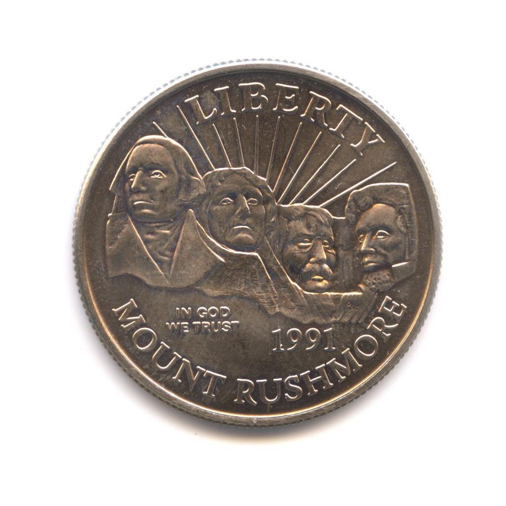50 центов 1991— 50 лет Национальному мемориалу Рашмор D — США