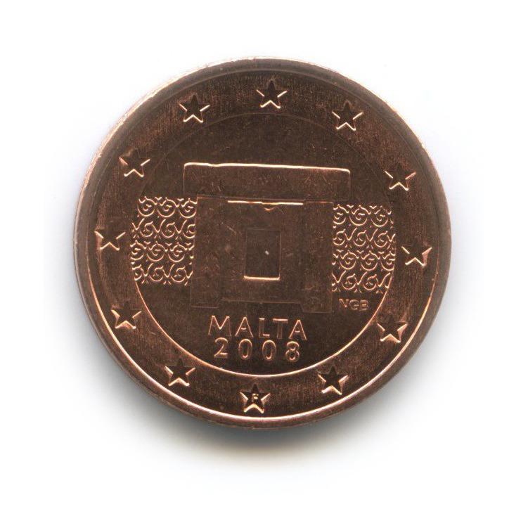 2 цента 2008 года — Мальта UNC