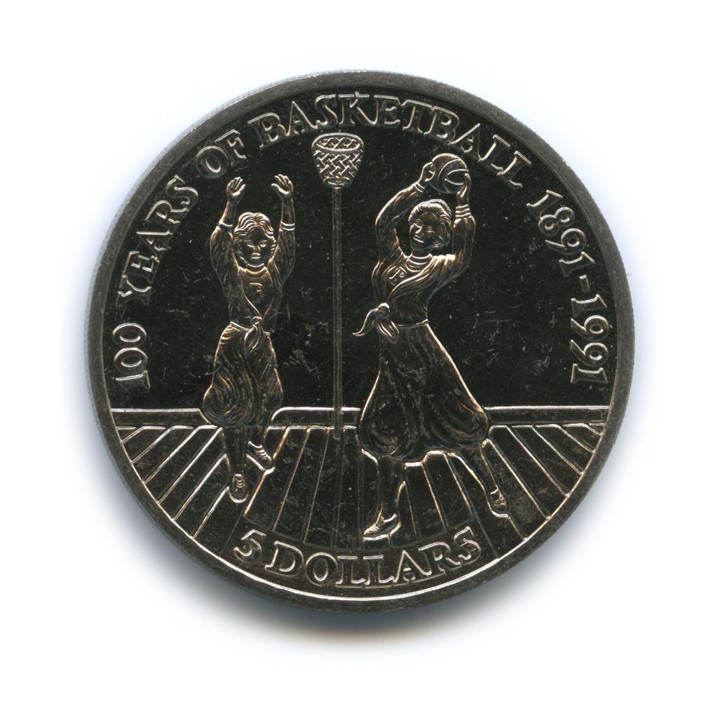 5 долларов 1991— 100 лет баскетболу — Ниуэ
