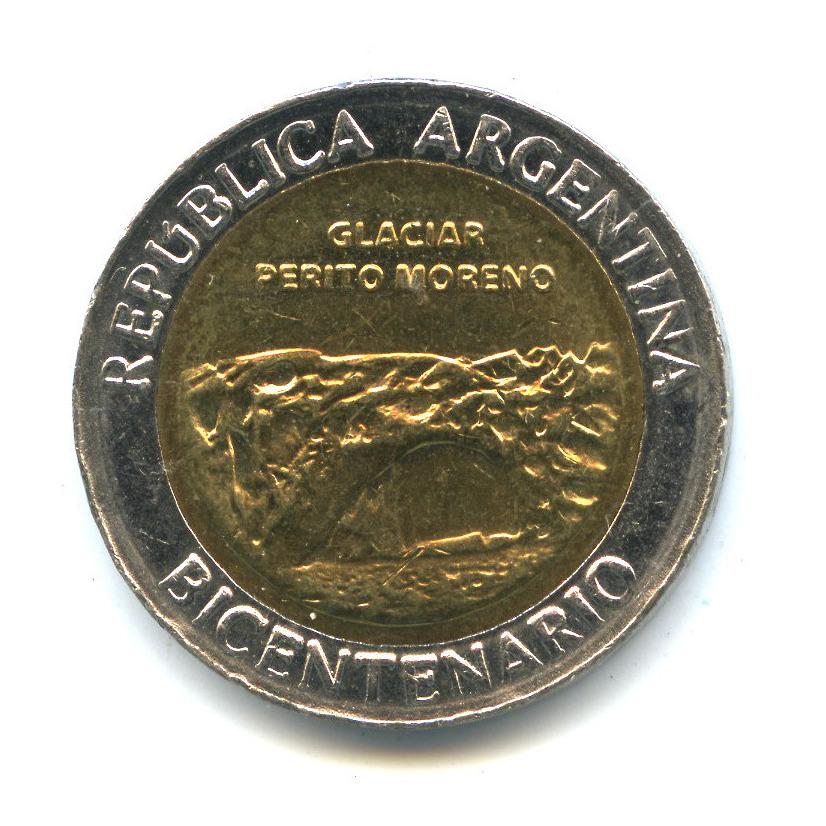 1 песо 2010— Ледник Перито-Морено. 200 лет Аргентине. — Аргентина